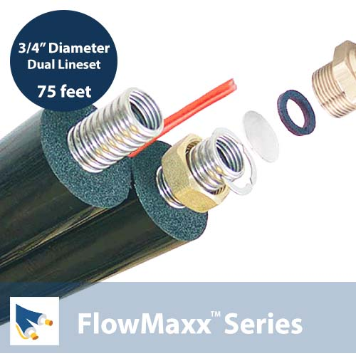 FlowMaxx-USA- 3/4in dia x 75ft L Pre-insulated Dual Lineset