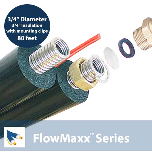 FlowMaxx 3/4 in w/3/4 in Insulated Line Set with mounting clips – 80 ft. length