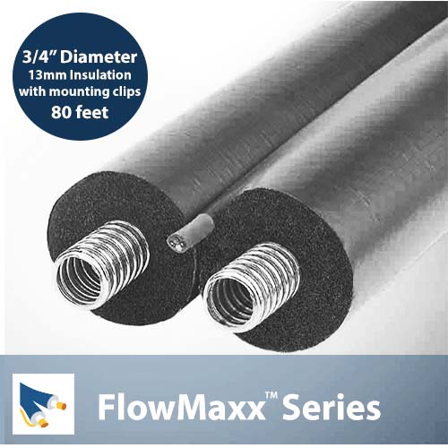 FlowMaxx 3/4in Pre-Insulated Line Set  with mounting clips – 80 ft. Length