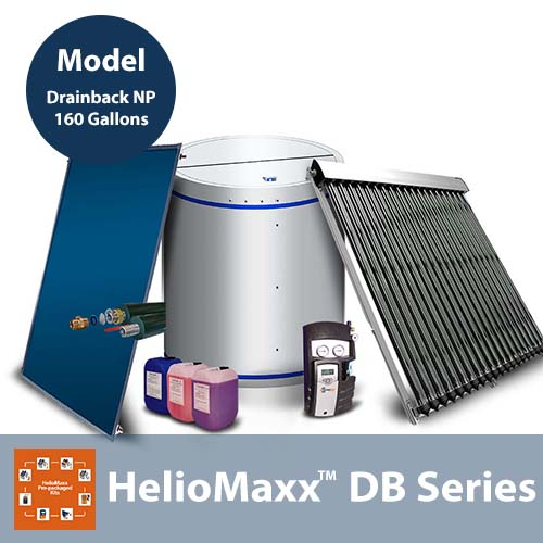 160 Gallon 4-8 People Drainback No Backup NP Solar Hot Water Kit