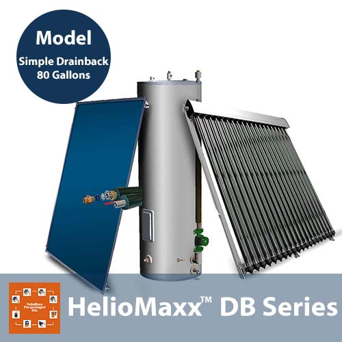 80 Gallon 1-4 People Drainback No Backup SDB Solar Hot Water Kit
