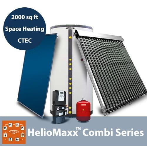 80 Gallon and 2000 Square Feet Space Heating 1-4 People No Backup CTec Solar Hot Water Kit
