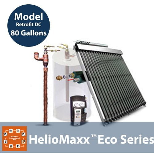 80 Gallon 1-4 People DC Retrofit Solar Hot Water Kit