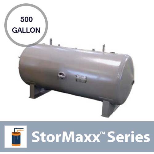 500 Gallon Commercial ASME Pressurized, Horizontal and Non-Insulated Buffer Tank