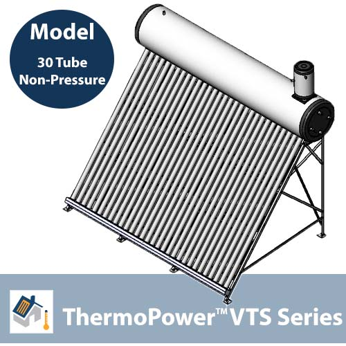ThermoPower VTS 30 Tube Non-Pressure Thermosyphon Solar Hot Water System