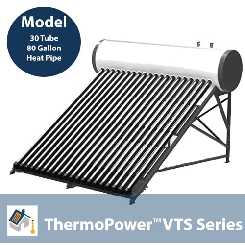ThermoPower VTS 30 Tube Heat Pipe Thermosyphon Solar Hot Water System
