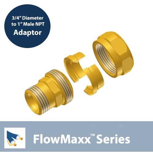 Flowmaxx Lineset Adaptor – 3/4″ lineset to 1″ Male NPT