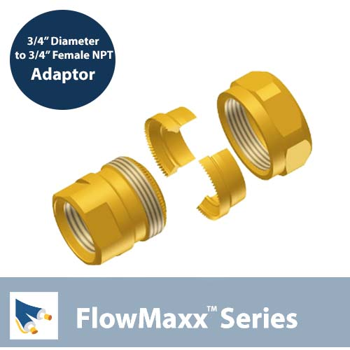 Flowmaxx Lineset Adaptor – 3/4″ lineset to 3/4″ Female NPT
