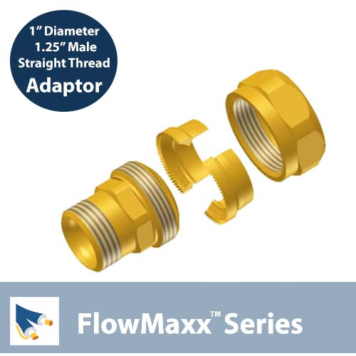 Flowmaxx Lineset adaptor – 1″ lineset to 1.25″ Male Straight Thread
