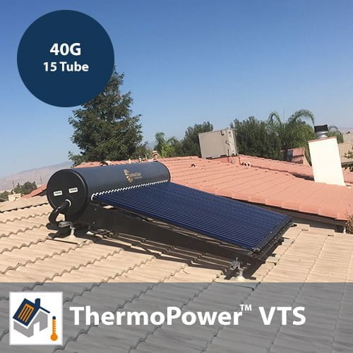 ThermoPower VTS 15 Tube / 40G Thermosyphon Solar Hot Water Kit With Heat Pipes